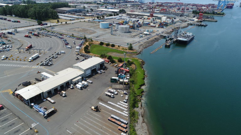 Aerial image of the salt marsh adjacent to industrial lots at the Port of Tacoma